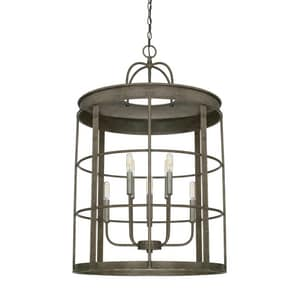 Capital Lighting Fixture Tybee 60W 8-Light Candelabra E-12 Incandescent Foyer Lighting in Urban Grey C529781UG