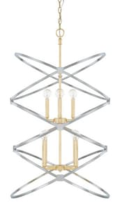 Capital Lighting Fire & Ice 60W 8-Light Candelabra E-12 Incandescent Chain Hung Foyer Lighting in Fire and Ice C520881FI