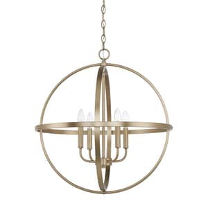 Capital Lighting Fixture HomePlace 60W 4-Light Candelabra E-12 Incandescent Pendant in Aged Brass C317542AD