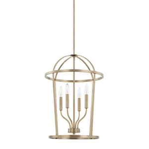 Capital Lighting Fixture Hayden 60W 4-Light Candelabra E-12 Incandescent Foyer Lighting in Aged Brass C528541AD