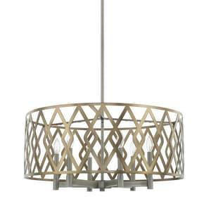 Capital Lighting Fixture 28-1/4 in. 60W 6-Light Candelabra E-12 Incandescent Pendant in Aged Metal C325761AM