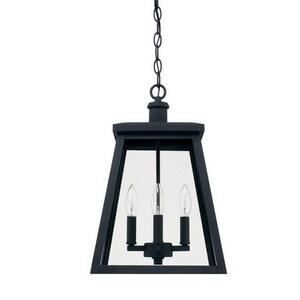 Capital Lighting Fixture Belmore 60W 4-Light Candelabra E-12 Incandescent Outdoor Hanging Pendant in Black C926842BK