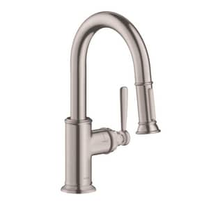 AXOR Montreux 1.75 gpm 1-Hole Deck Mount Prep Kitchen Sink Faucet with Single Lever Handle and Pull-Down Spout in Steel Optik AX16584801