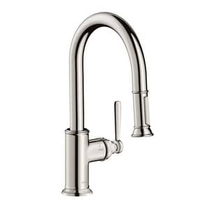AXOR Montreux 1.75 gpm 1-Hole Deck Mount Prep Kitchen Sink Faucet with Single Lever Handle and Pull-Down Spout in Polished Nickel AX16584831