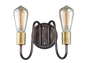 Maxim Haven 120W 2-Light Medium E-26 Incandescent Wall Sconce in Oil Rubbed Bronze with Antique Brass M11739OIAB