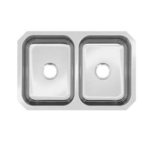 PROFLO® Plomosa 30-3/4 x 20-1/2 in. No Hole Stainless Steel Double Bowl Undermount Kitchen Sink PFUC208