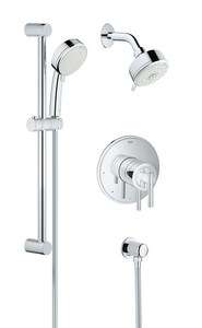 GROHE® Tempesta Cosmopolitan 1.75 gpm 2-Function Shower Set Pressure Balance Valve with Double Lever Handle in StarLight® Polished Chrome G35055001