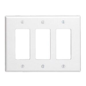 Leviton Decora Plus™ 3-Gang Device Wallplate in White L80611W