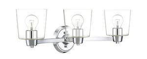 Park Harbor® Windsor Gate 26-3/8 in. 100W 3-Light Medium E-26 Bath Light with Seeded Glass in Polished Chrome PHVL3003