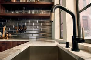 Brizo Litze™ Single Handle Pull Down Kitchen Faucet in Matte Black with Luxe Gold D64063LFBLGL
