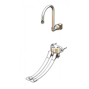 T&S Brass Double Pedal Valve with Dummy Rigid Gooseneck Spout and Short Elbow in Polished Chrome TB0504537K