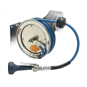 T&S Brass 3/8 in. x 15 ft. Hose Reel with Spray Valve in Stainless Steel TB711208H