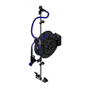 T&S Brass 50 ft. Open Hose Reel Assembly with Double Four Arm or Lever Handle in Stainless Steel TB1433CRSC