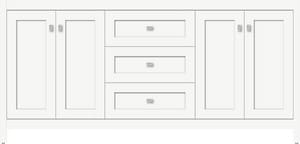 Strasser Woodenworks Alki View 72 x 21 x 34-1/2 in. Floor Mount Vanity with 3-Drawer in Satin White STR52961