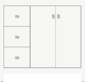 Strasser Woodenworks Alki View 36 x 21 x 34-1/2 in. Floor Mount Vanity with 3-Drawer in Satin White STR52743