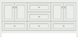 Strasser Woodenworks Alki Essence 72 x 21 x 34-1/2 in. Floor Mount Vanity with 5-Drawer in Powder Grey STR52074