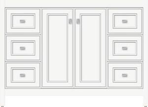 Strasser Woodenworks Alki View 48 x 21 x 34-1/2 in. Floor Mount Vanity with 6-Drawer in Satin White STR53261