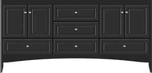 Strasser Woodenworks Wallingford 72 x 21 x 34-1/2 in. Floor Mount Vanity with 5-Drawer in Satin Black STR35636