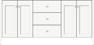 Strasser Woodenworks Newhalem 72 x 21-1/2 x 34-1/2 in. Floor Mount Vanity with 3-Drawer in Satin White STR56060