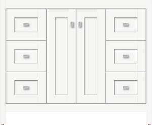Strasser Woodenworks Alki View 42 x 18 x 34-1/2 in. Floor Mount Vanity with 6-Drawer in Satin White STR52597