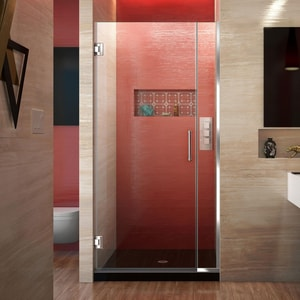 DreamLine Unidoor Plus 34 in. Frameless Hinged Shower Door with Clear Tempered Glass in Polished Chrome DSHDR24335721001