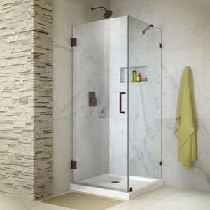 DreamLine Unidoor Lux 30-3/8 in. Frameless Hinged Shower Enclosure with Clear Tempered Glass in Oil Rubbed Bronze DSHEN233030006
