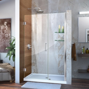 DreamLine Unidoor 46 in. Frameless Hinged Shower Door with Tempered Glass DSHDR20457210S