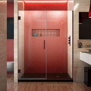 DreamLine Unidoor Plus 59 in. Frameless Hinged Shower Door with Clear Tempered Glass in Oil Rubbed Bronze DSHDR24585721006