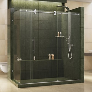DreamLine Enigma 72-1/2 in. Frameless Sliding Shower Enclosure with Clear Tempered Glass in Polished Stainless Steel DSHEN6036721208
