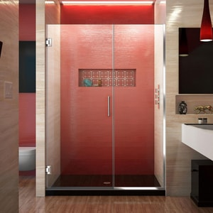 DreamLine Unidoor Plus 46 in. Frameless Hinged Shower Door with Clear Tempered Glass in Polished Chrome DSHDR24455721001