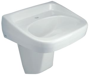 Zurn 3-Hole Wall Mount Lavatory Sink with Half Pedestal and Center Drain in White ZZ5344PED