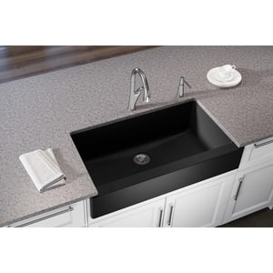 Elkay Quartz Luxe® 35-7/8 x 20-15/16 in. Composite Single Bowl Apron Front Kitchen Sink in Caviar EELXUFP3620CA0
