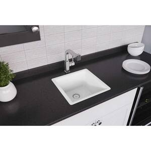 Elkay Luxe 15-3/4 x 15-3/4 in. Drop-in and Undermount Quartz Bar Sink in Ricotta EELX1616RT0