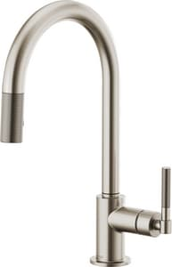 Brizo Litze™ 1.8 gpm 1-Hole Pull-Down Kitchen Faucet with Arc Spout and Single Knurled Lever Handle D63043LF