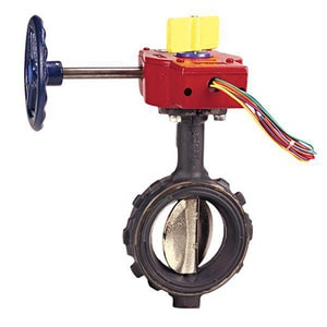 NIBCO 4 in. 250 psi Ductile Iron Wafer Butterfly Valve Gear Operator Switch NWD35108P