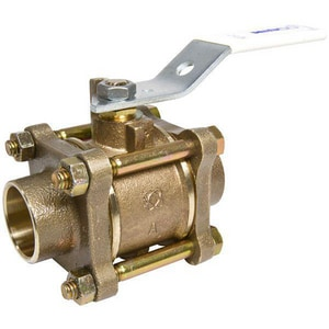 NIBCO S-595-Y-LF 1-1/2 in. Silicon Bronze Full Port Solder 600# Ball Valve NS595YLFJ