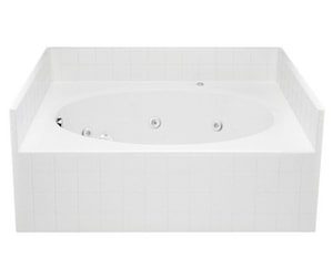 Aquatic Industries Everyday 60 x 42 x 26-1/4 in Soaker Alcove Bathtub with Left Drain in White A2603TWLWH