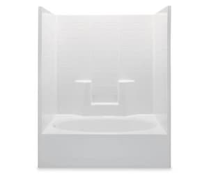 Aquatic Industries Everyday 60 x 41 in. Left-Hand Oval Tile Tub and Shower in White A2603CTSWH