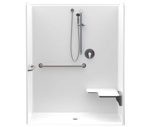 Aquatic Industries Accessible 36-1/4 x 62 x 77-1/4 in. Alcove Shower Unit in White A1603BFSDRWH