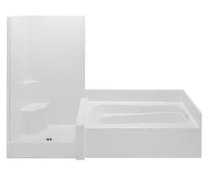 Aquatic Industries Darsey 114 x 43-1/4 in. Tub & Shower Unit with Right Drain in White A114HGS2PRWH