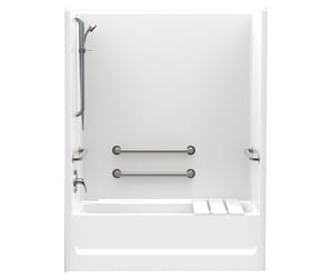Aquatic Industries FreedomLine 60 in. Right-Hand Tub and Shower with 4 Grab Bar in White A2603SMTE