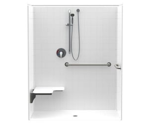 Accessible 32-1/4 in. Fiberglass Center Reinforced Plastic Tile Shower in White A1623BFSTD