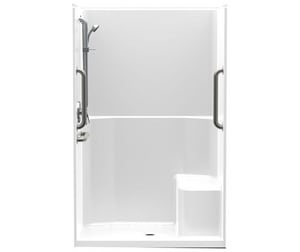 Aquatic Industries FreedomLine 46 x 34 in. ADA Shower with Right Seat in White A1483TSTHR