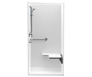 Aquatic Industries FreedomLine 38-1/4 x 38 x 77-1/8 in. Alcove Shower Unit in White A1363BFSCGLWH