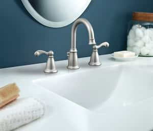 Moen Double Lever Handle High Lavatory Faucet in Spot Resist Brushed Nickel M84004