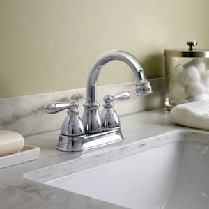 Moen Caldwell™ Two Handle Centerset Bathroom Sink Faucet in Polished Chrome MWS84667