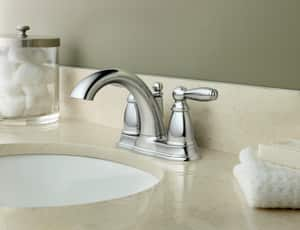 Moen Brantford™ Two Handle Centerset Bathroom Sink Faucet in Polished Chrome M6610