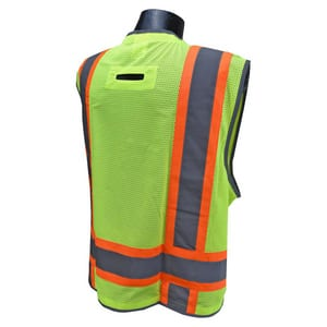 Radians Radwear™ Heavy Duty Two Tone Surveyor Mesh Safety Vest Class 2 Hi-Viz Green Large RSV6HGL at Pollardwater