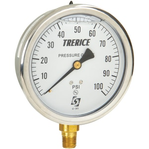 H.O. Trerice D80 Series 1/4 x 4 in. 30 psi Stainless Steel NPT Pressure Gauge TD82LFB4002LA090