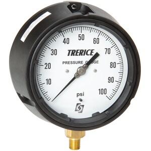 H.O. Trerice 450 Series 4-1/2 in. 300 psi Plastic-Fiberglass Glycerine Liquid Filled Pressure Gauge T450LFB4502LA140